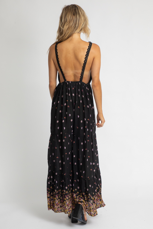 BLACK FLORAL OPEN BACK JUMPSUIT