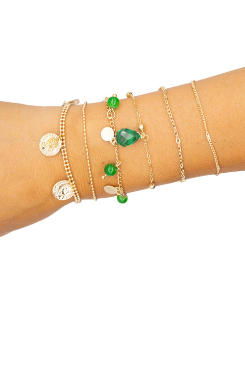 BOHEMIAN EMERALD + GOLD BRACELET 6 SET