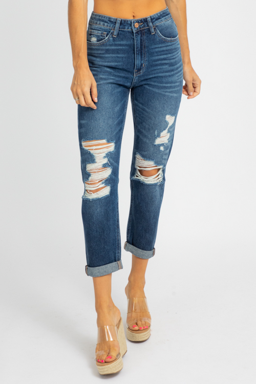 DISTRESSED ROLL UP MOM JEAN