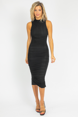 BLACK RIBBED SLIT MIDI