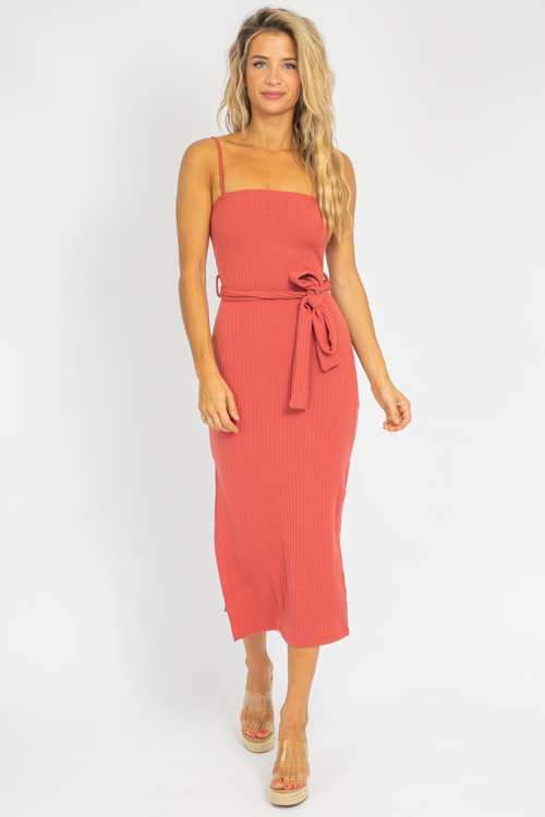 SIDE SLIT KNIT MIDI IN ROSE
