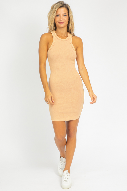TAN MINERAL WASH RIBBED MINI DRESS