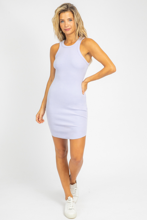LAVENDER MINERAL WASH RIBBED MINI DRESS