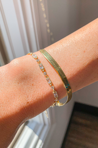GOLD STAINLESS STEEL BANGLE WITH EMERALD GREEN ACCENTS