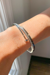SILVER NAIL BRACELET WITH DIAMOND DETAIL
