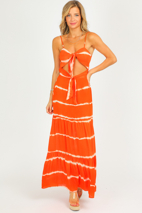 CUTOUT TIE DYE MAXI DRESS