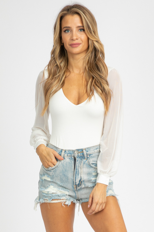 WHITE MESH SLEEVE BODYSUIT