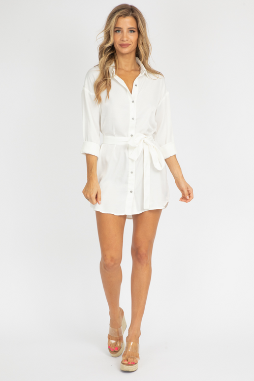 WHITE BUTTON DOWN TIE DRESS