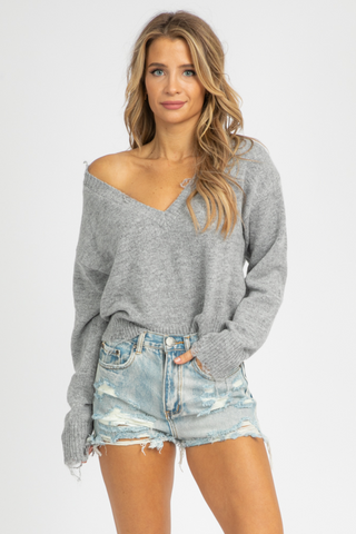 FRENCH TERRY DISTRESSED PULLOVER