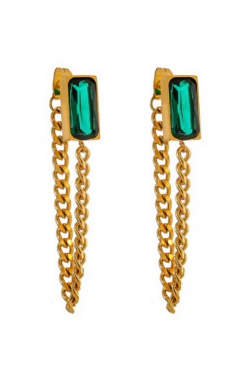 EMERALD + GOLD CHAIN DROP EARRING