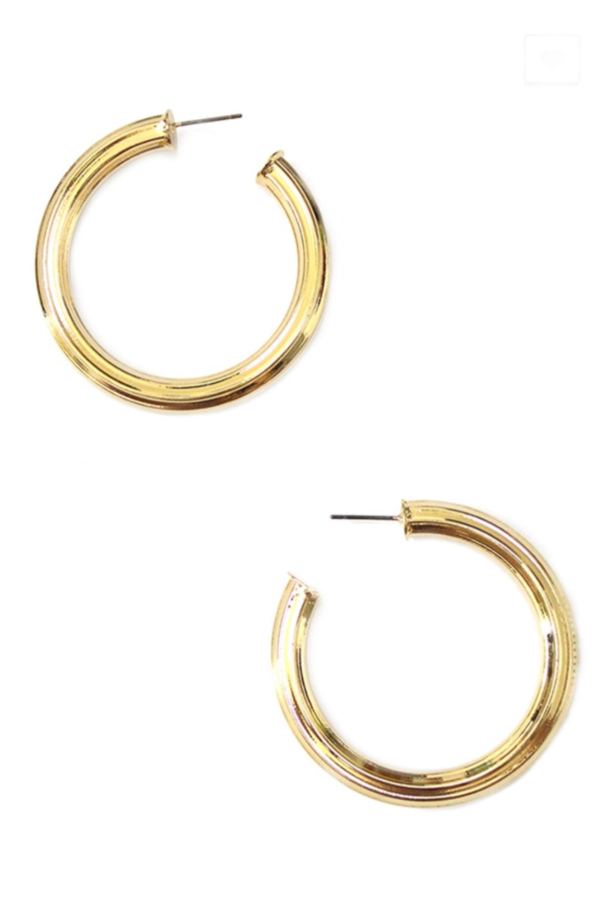 TEXTURED BRASS TUBE HOOP EARRINGS