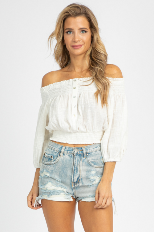 WHITE OFF SHOULDER BUTTON TOP