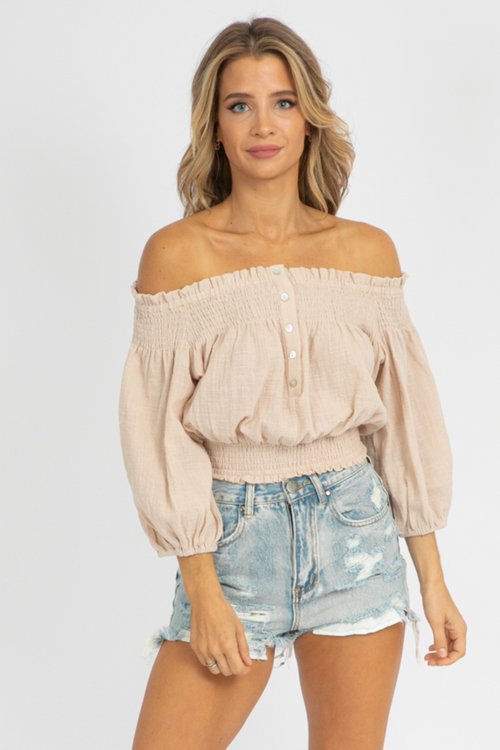 JUTE OFF SHOULDER BUTTON TOP