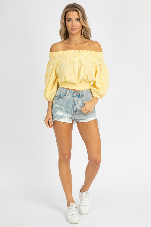 LEMON OFF SHOULDER BUTTON TOP