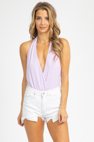 NUDE RUCHED TIE-BACK BODYSUIT