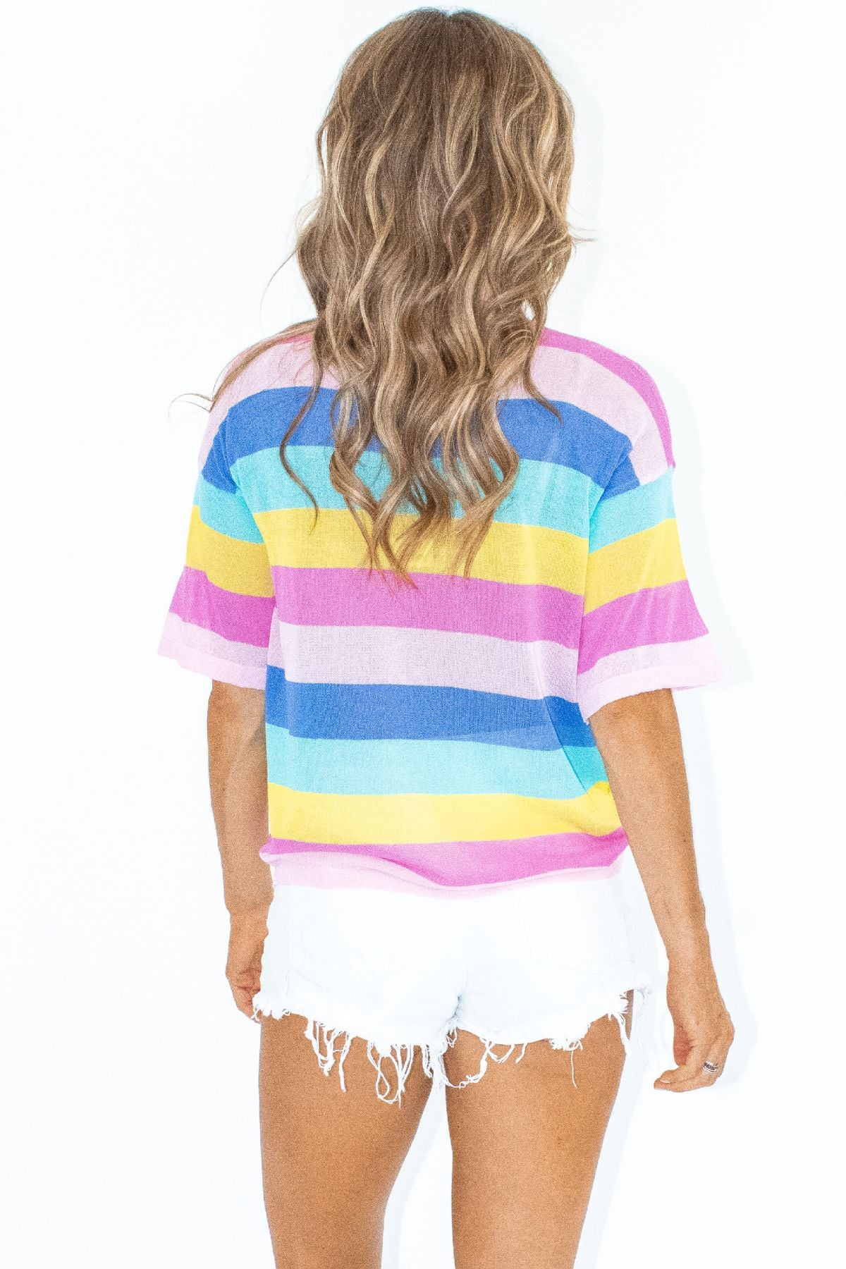 SHEER PINK MULTI STRIPED TEE