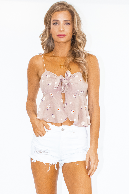 FLORAL OPEN TIE FRONT TANK