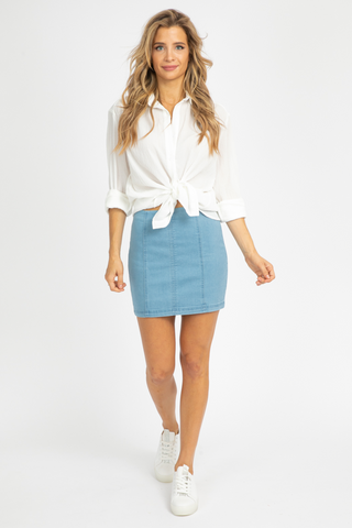 HIGH WAISTED WHITE DENIM MINI SKIRT