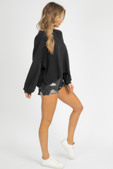 BLACK DISTRESSED LONG SLEEVE TOP