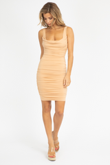 NUDE RUCHED MINI DRESS
