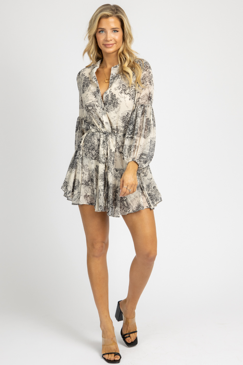 PAINTED ISLANDS BUTTON UP MINI DRESS