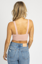 PALE PINK ESSENTIAL RIBBED V-NECK CROP *RESTOCKED*