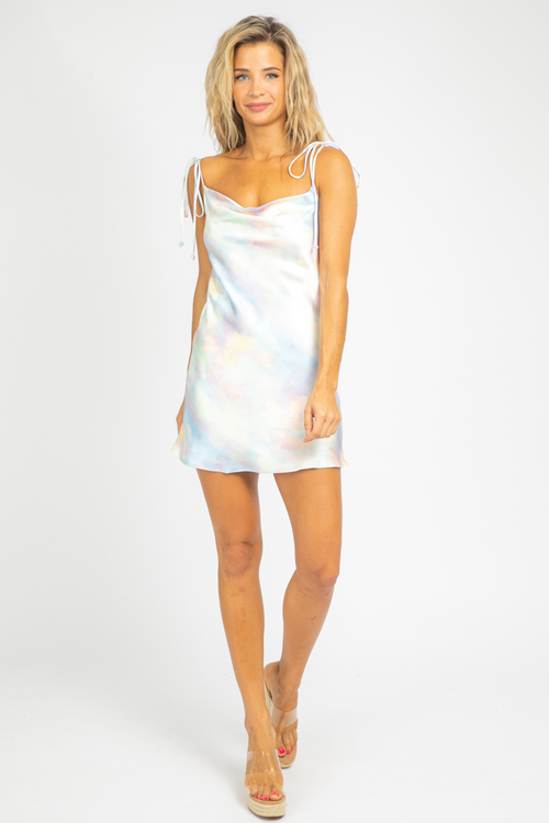 PASTEL SATIN MINI DRESS