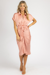 PEACH PINK COLLARED TIE FRONT MIDI DRESS *RESTOCK COMING SOON*