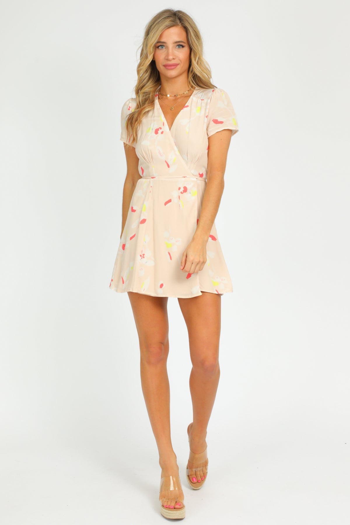 PEACH PRINT WRAP DRESS