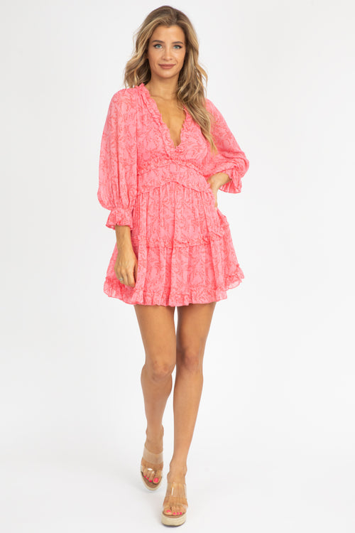 PINK BOTANICAL RUFFLE DRESS