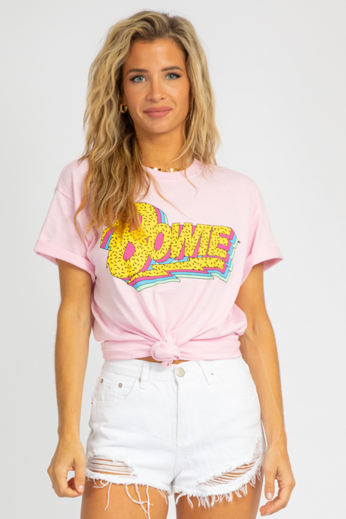 PINK BOWIE GRAPHIC TEE