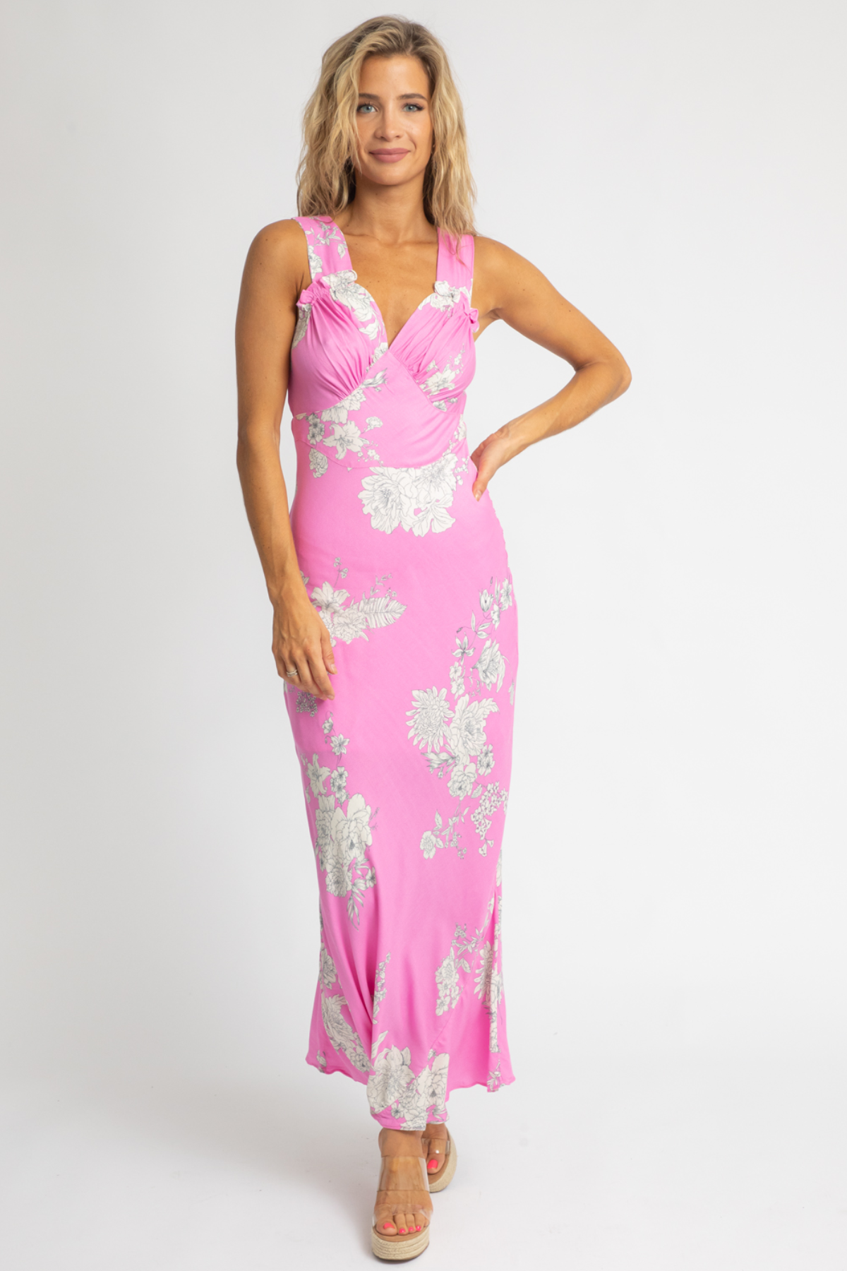 PINK WIDE STRAP FLORAL MAXI