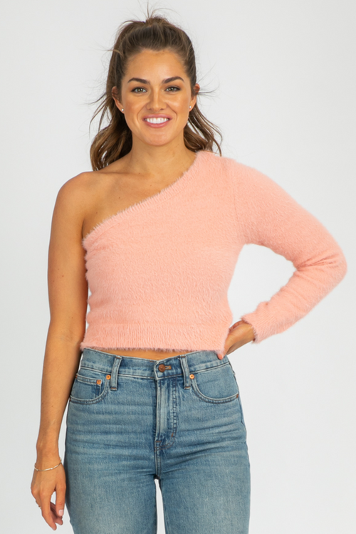 PINK FUZZY ONE SHOULDER TOP
