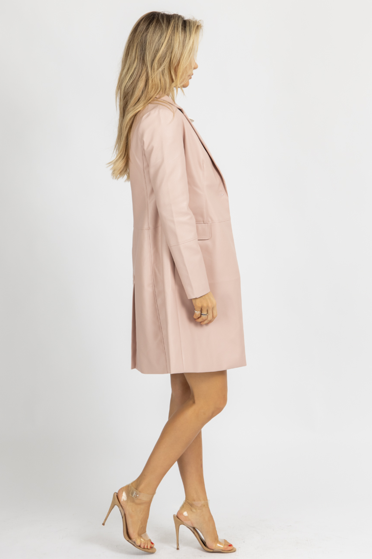 DUSTY PINK VEGAN LEATHER COAT