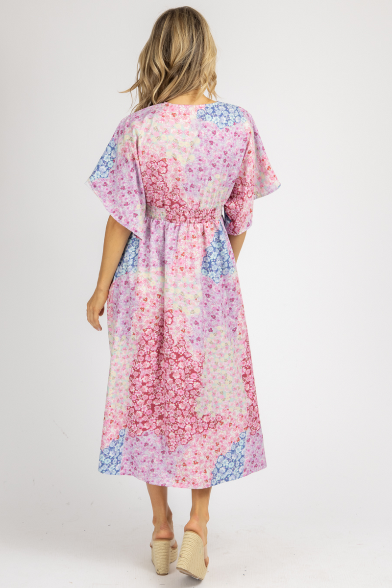 PINK MULTIFLORAL SHORT SLEEVE MAXI DRESS
