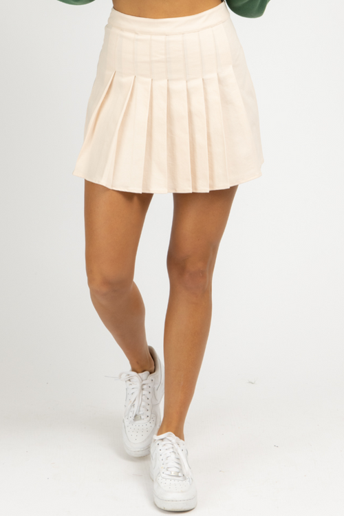 BABY PINK PLEATED MINI SKIRT