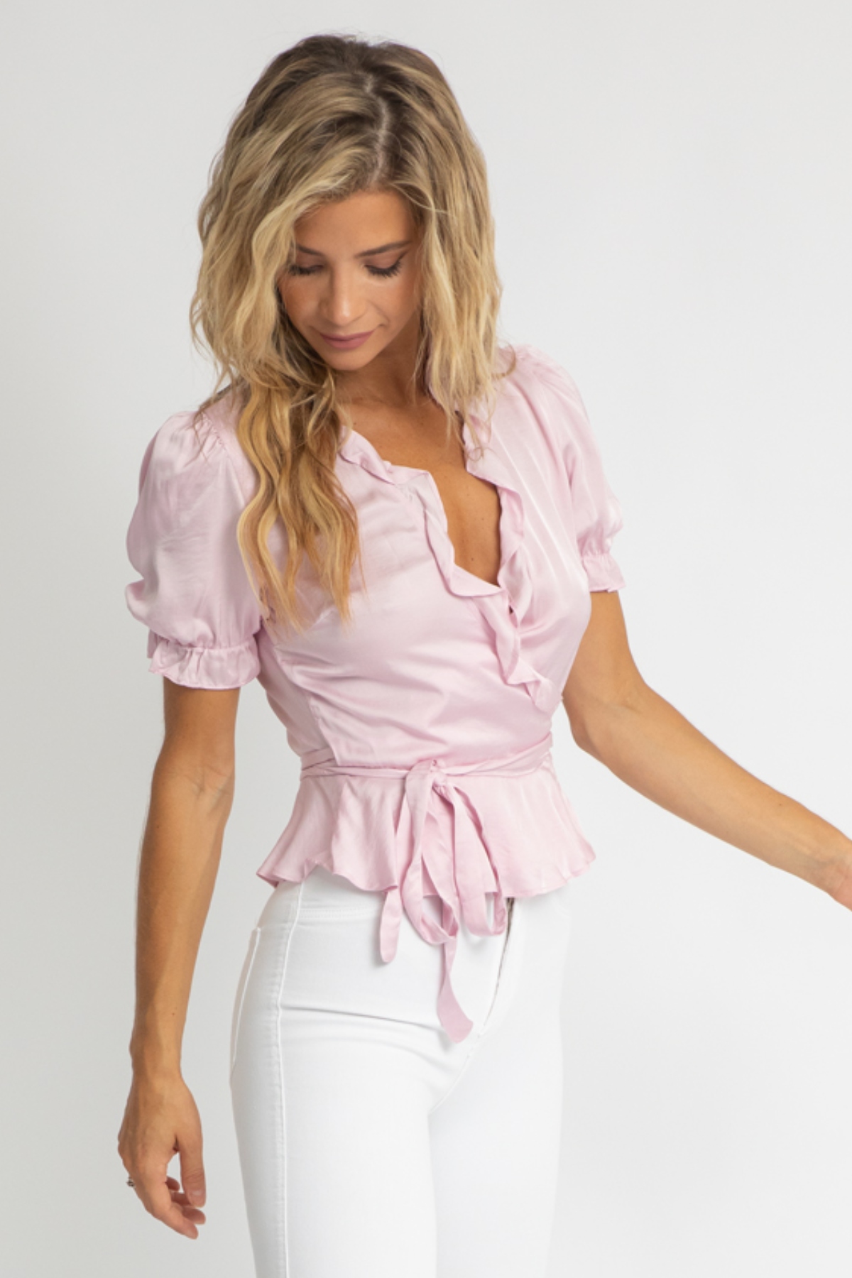PINK SATIN WRAP TOP