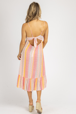 CORAL MULTISTRIPE OPEN BACK MIDI DRESS