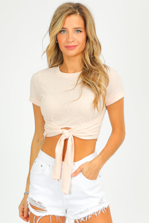 BLUSH TIE FRONT TOP