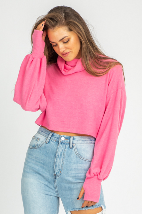 PINK TURTLENECK THUMBHOLE SWEATER