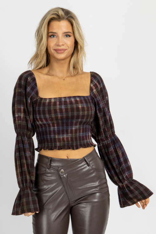 BURGUNDY PLAID DYED SMOCK TOP