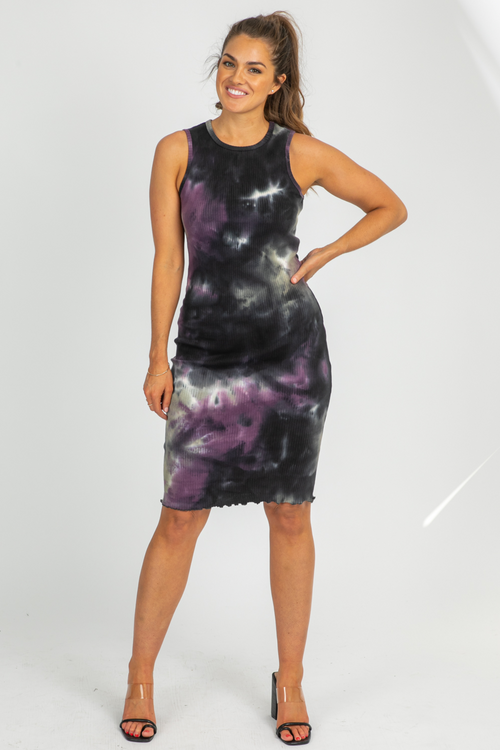 PLUM TIE DYE MIDI DRESS