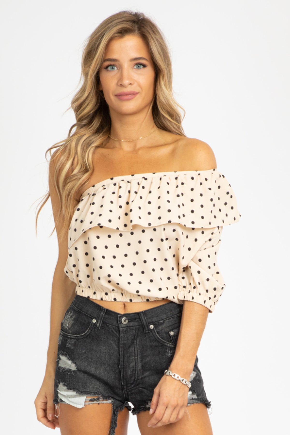 POLKA RUFFLE ONE SHOULDER TOP