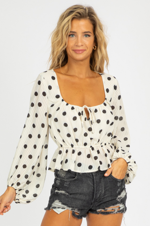 POLKA DOT PUFF SLEEVE BLOUSE