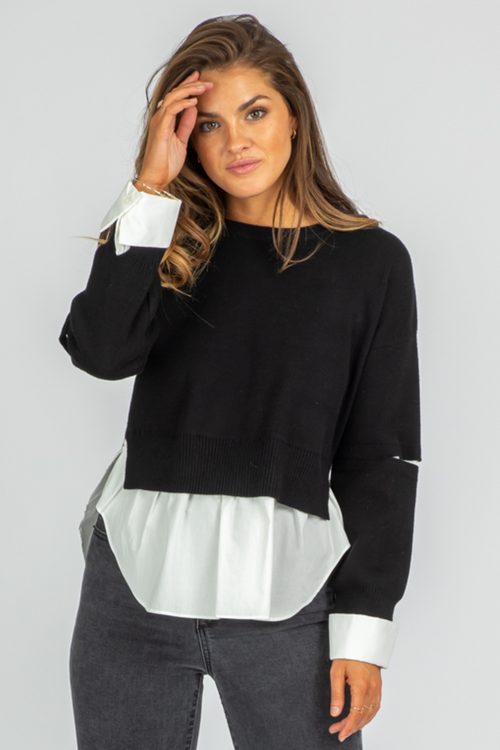 POPLIN COMBO ARM SLASH SWEATER