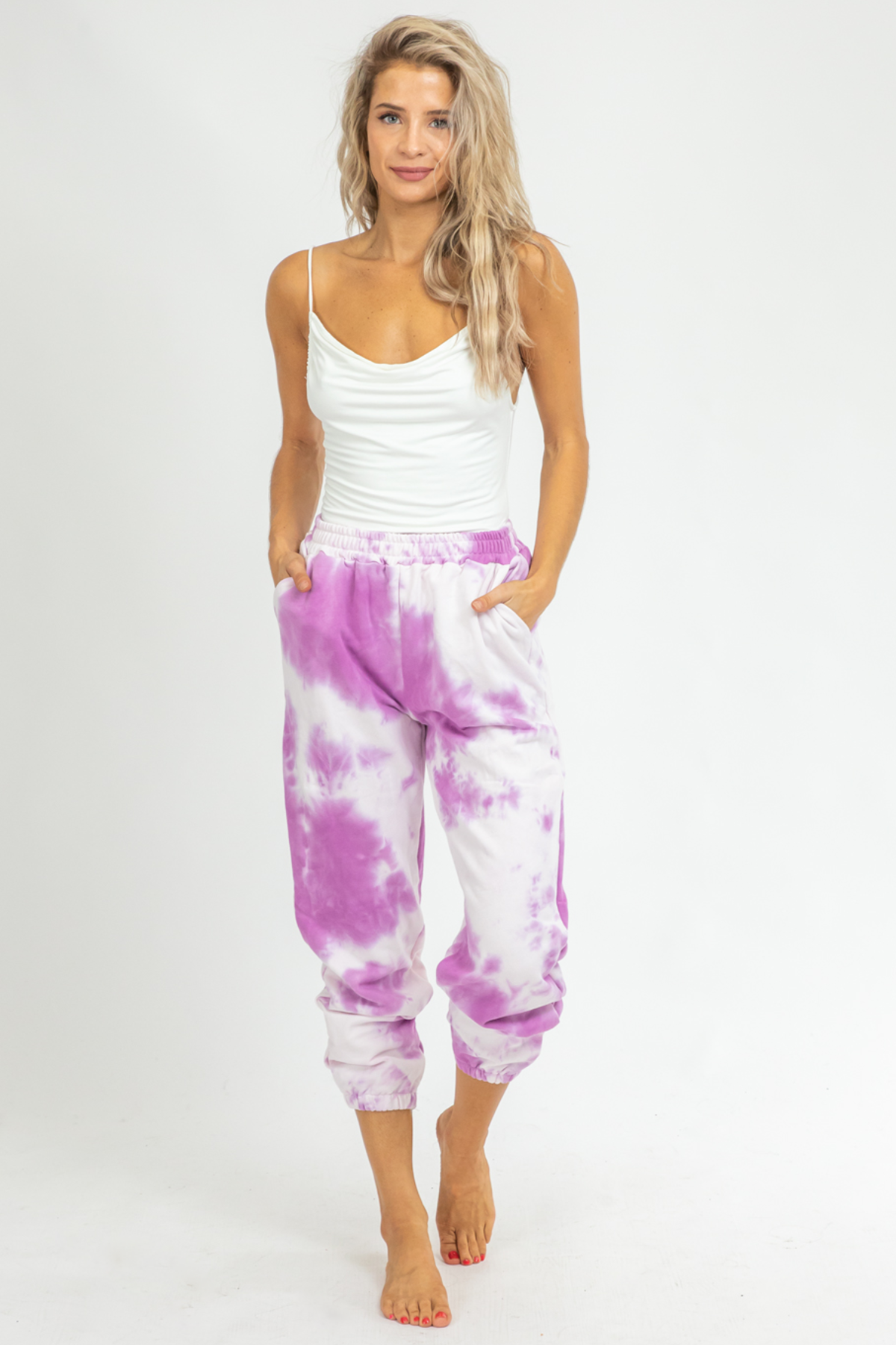 PURPLE TIE DYE FRENCH TERRY JOGGERS