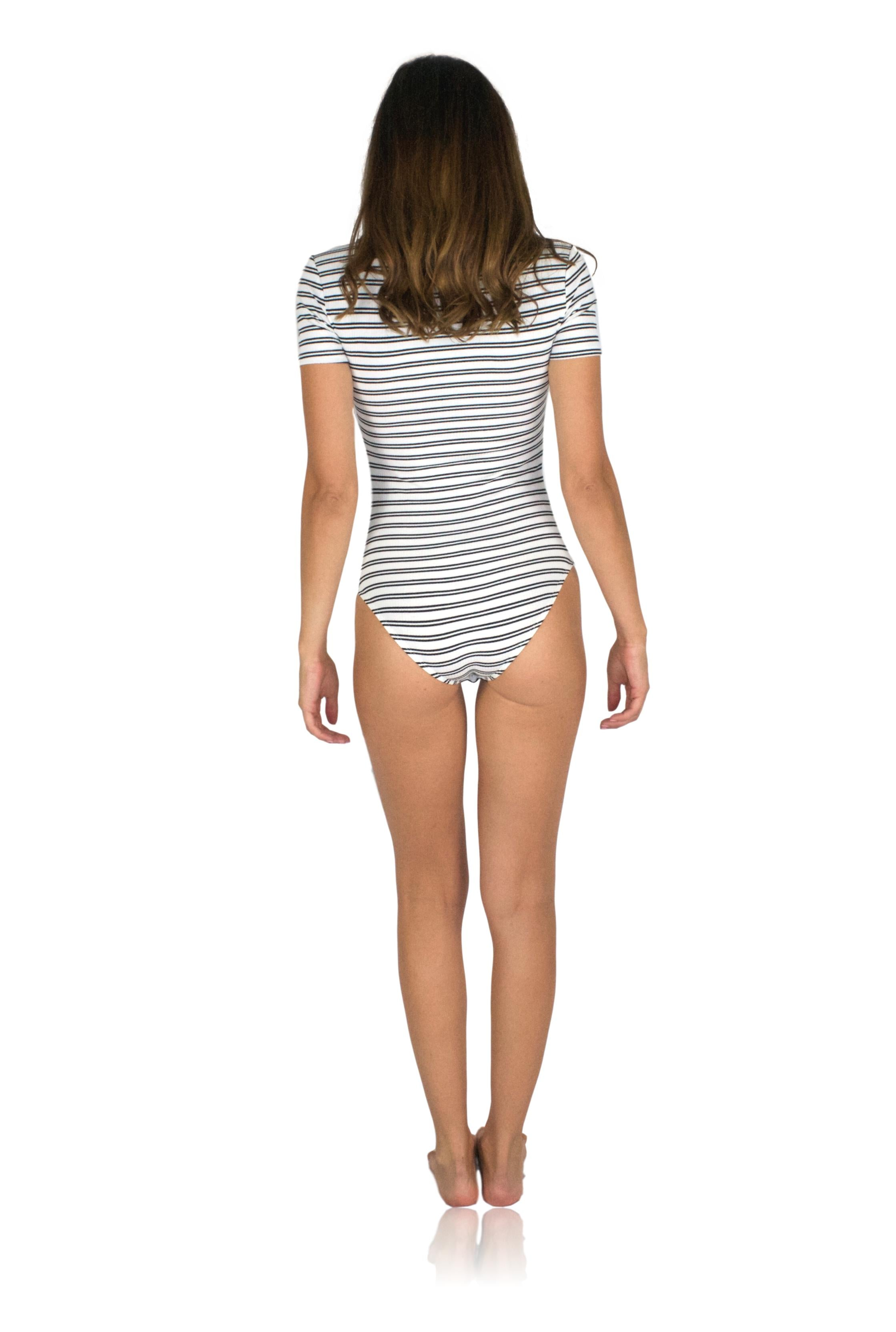 RENDEZ-VOUS BODYSUIT IN BLACK STRIPE