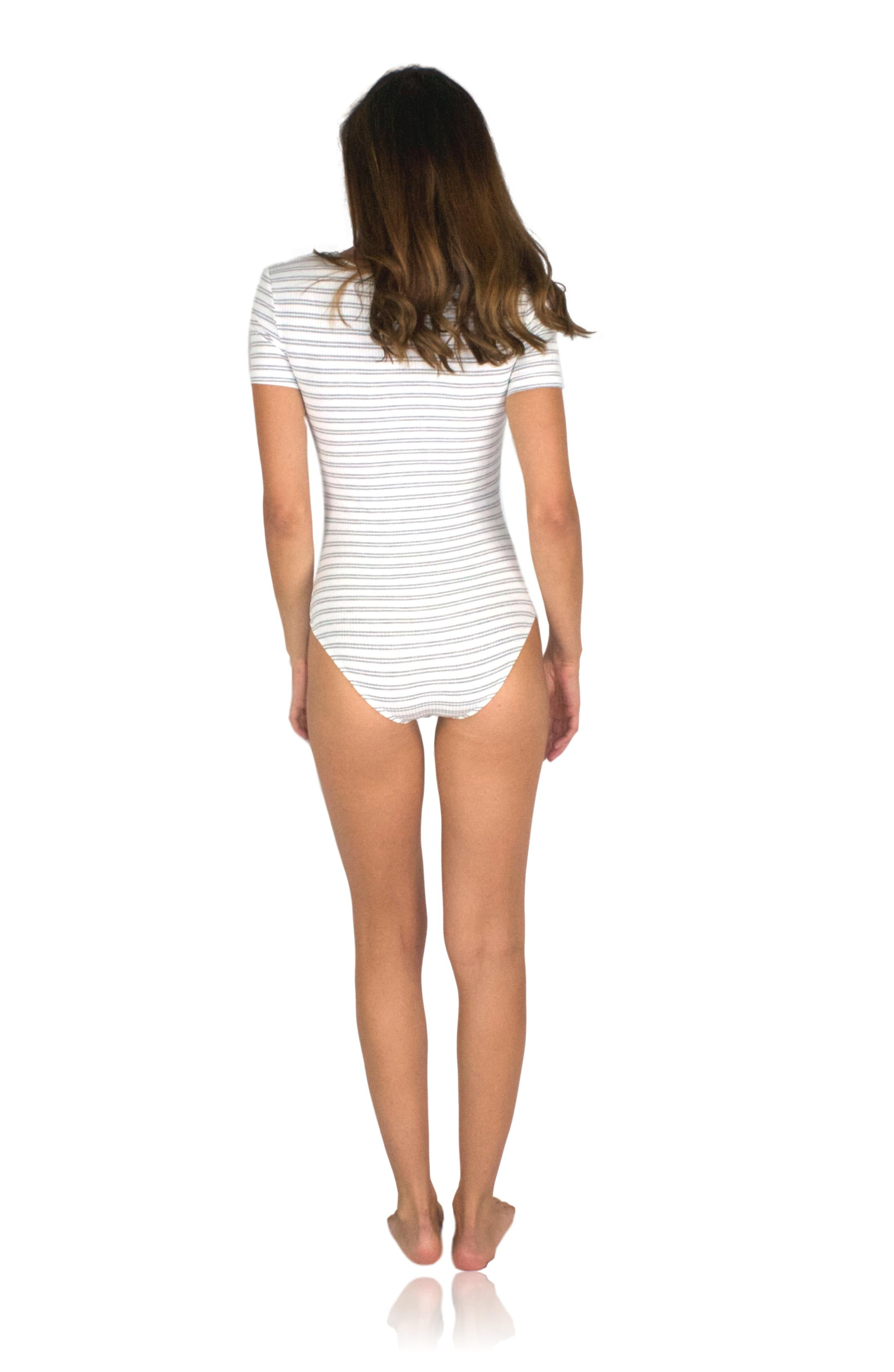 RENDEZ-VOUS BODYSUIT IN GREY STRIPE