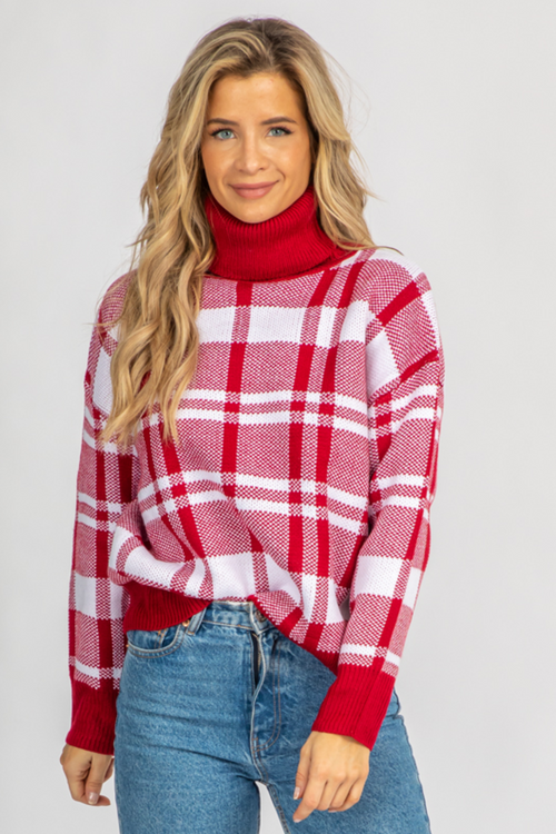 RED PLAID TURTLENECK KNIT