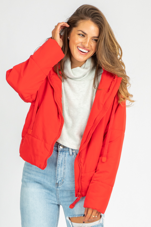 RED PUFFER DRAWSTRING JACKET